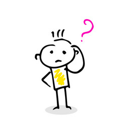stick figure hand drawing with question sign vector image