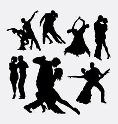 Tango couple dancer silhouettes vector