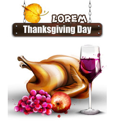 thanksgiving roasted turkey and wine vector image