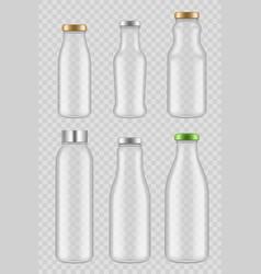 Transparent glass bottles packages for juice milk vector