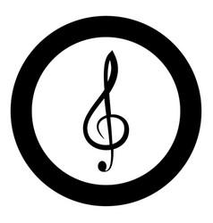treble clef icon black color in circle vector image