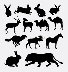 Various mammal animal silhouette vector