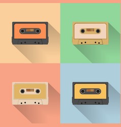 vintage audio tapes icon retro style vector image