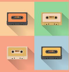 Vintage audio tapes icon retro style vector