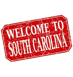 welcome to South Carolina red square grunge stamp vector image