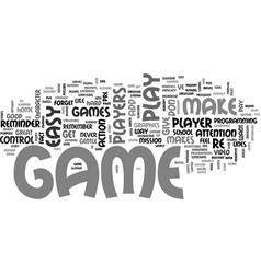 What makes a great game text word cloud concept vector