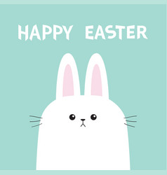 white bunny rabbit head face picaboo happy easter vector image