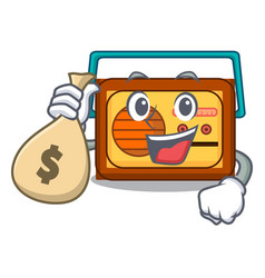 With money bag radio character cartoon style vector