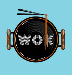wok food pan vector image