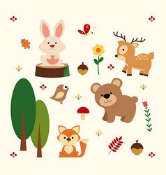 Woodland animal background vector