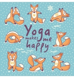 Yoga makes me happy vector image