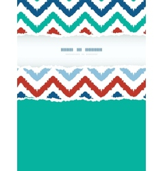 Colorful ikat chevron frame vertical torn seamless vector image vector image