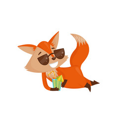 cute cartoon red fox character in sunglasses vector image
