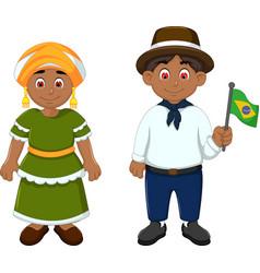 cute couple brazilians cartoon with national cloth vector image