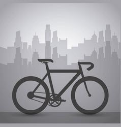 dark bike with cityscape building urban transport vector image