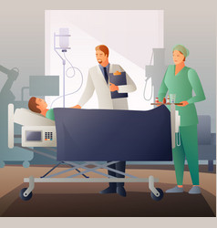 doctor and sick flat composition vector image vector image