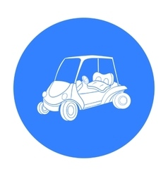 Golf cart icon in black style isolated on white vector image