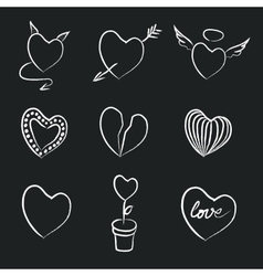 Hand Drawn Chalk Hearts Collection vector image vector image