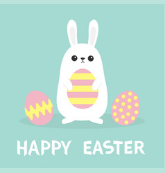 happy easter white bunny rabbit painted pattern vector image
