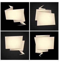 origami set folded paper speech bubble vector image