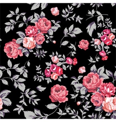 Rose Seamless Pattern Pink Black vector image
