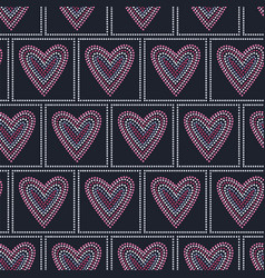 Seamless pattern graphic heart tiles vector