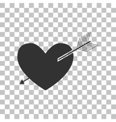 Arrow heart sign Dark gray icon on transparent vector image