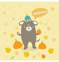 Autumn scene with a cartoon dog vector