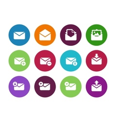 Email circle icons on white background vector image