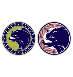 set of sport badges with bears vector image vector image