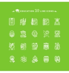 Set of White Education Icons on Green Background vector image vector image