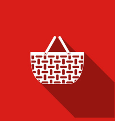 Shopping basket flat icon with long shadow vector