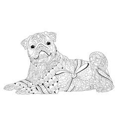 zentangle stylized dog hand drawn lace vector image