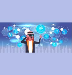 arab business man wearing 3d glasses virtual vector image vector image