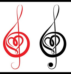 Heart of treble clef and bass clef vector image vector image