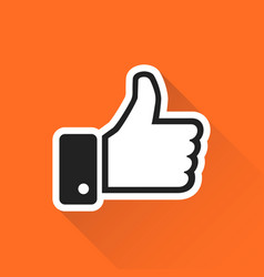 Like icon in flat style isolated on orange vector