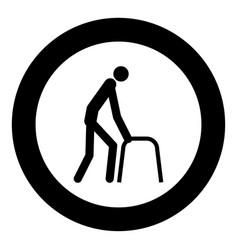 sick man icon black color in circle vector image