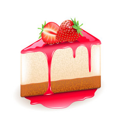 strawberry cheesecake isolated on white vector image vector image