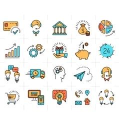 Business line icon art flat design market vector