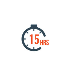 15 hours round timer or countdown timer icon vector