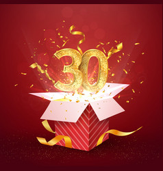 30 th years number anniversary and open gift box vector image