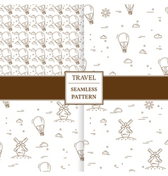 Air balloon and windmill travel set seamless patte vector