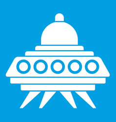 Alien spaceship icon white vector