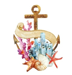 Anchor with corals vector image