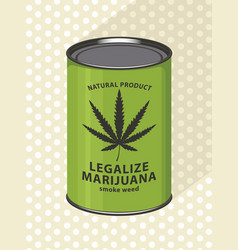 Banner for legalize marijuana with canned cannabis vector