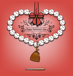 baseball balls laid out in the shape of the heart vector image