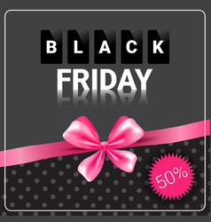 Black friday sale poster background pink ribbon vector