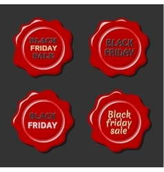 Black friday set of red wax stamps vector image