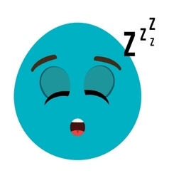 blue cartoon face with sleepy expression vector image