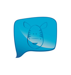 Blue square chat bubble with zebra animal inside vector
